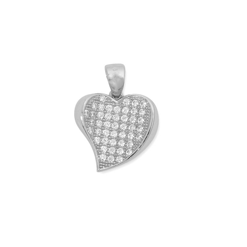 Pandativ in forma de inima, din Argint 925, decorat cu zirconii albe