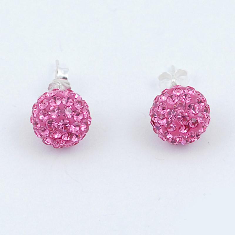 Cercei din Argint 925 cu cristale roz fucsia