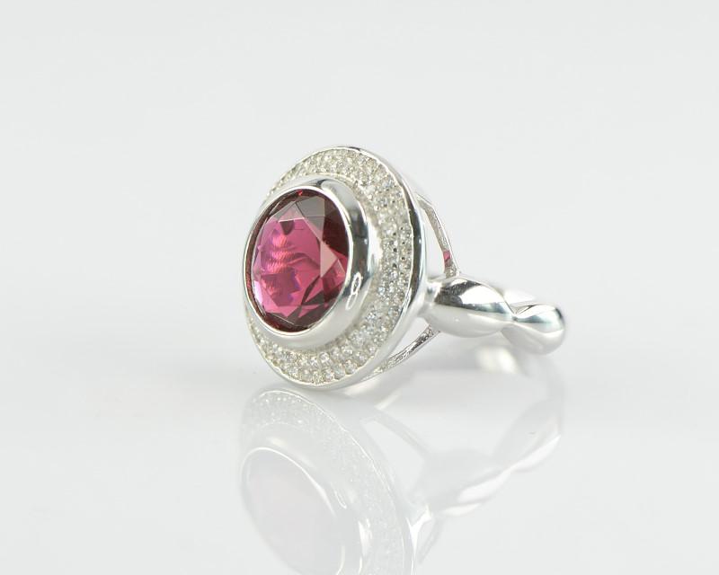 Inel din Argint 925 cu zircon roz si alb