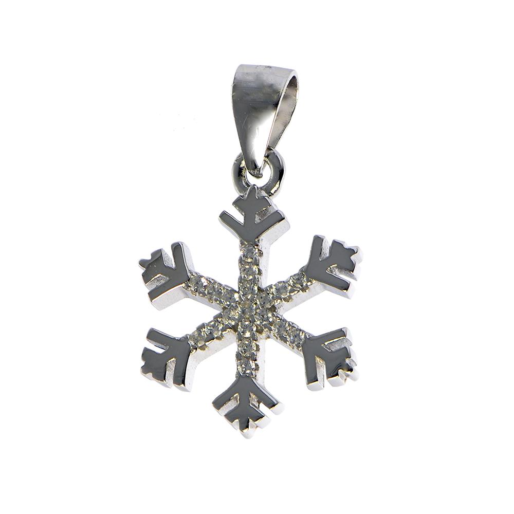 Pandantiv fulg de nea din argint cu zirconii aplicate