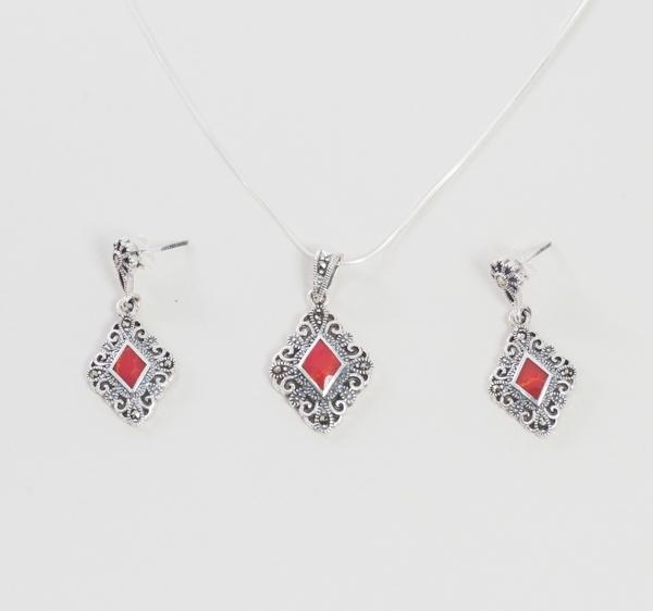 Set din Argint 925 decorat cu marcasite si coral rosu reconstituit