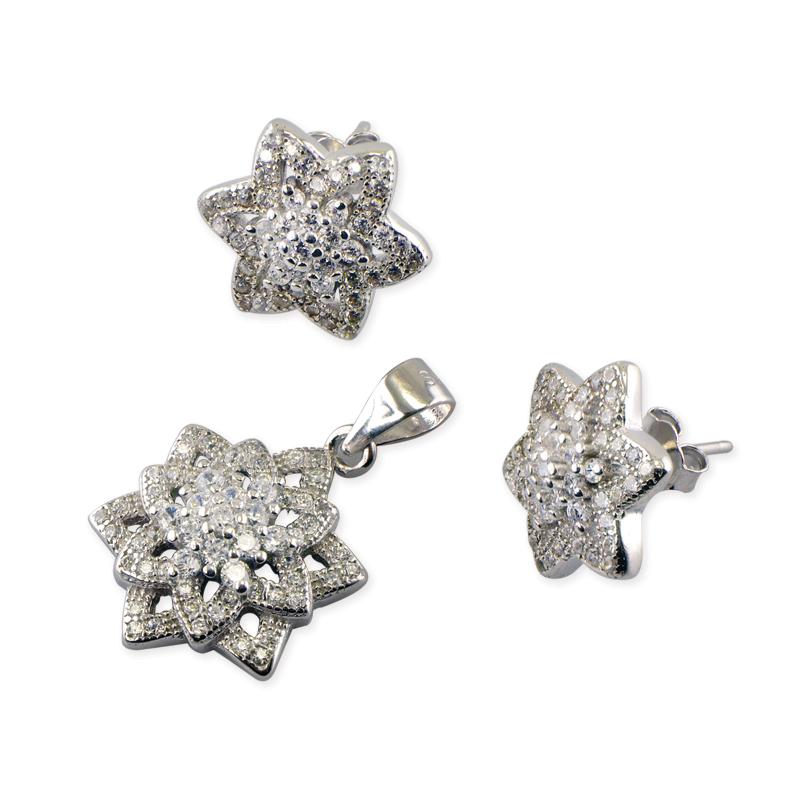 Set din Argint 925 model floare, decorat cu zirconii