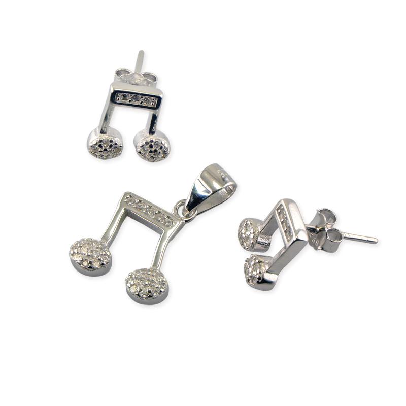 Set din Argint 925, pandantiv si cercei, note muzicale
