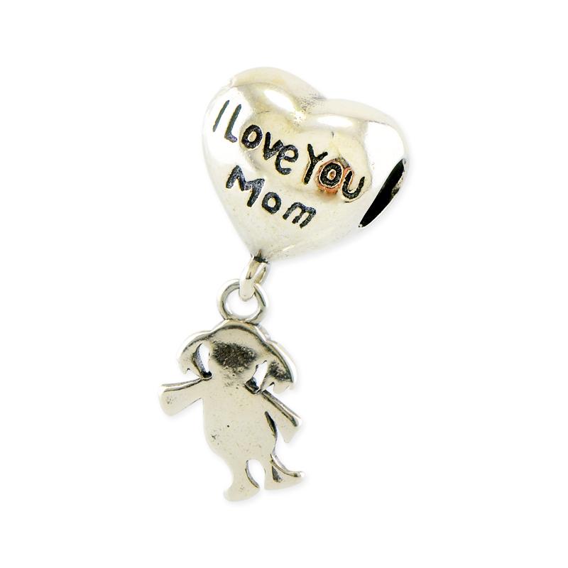 Talisman cu mesaj ''i love you mom'' din Argint 925