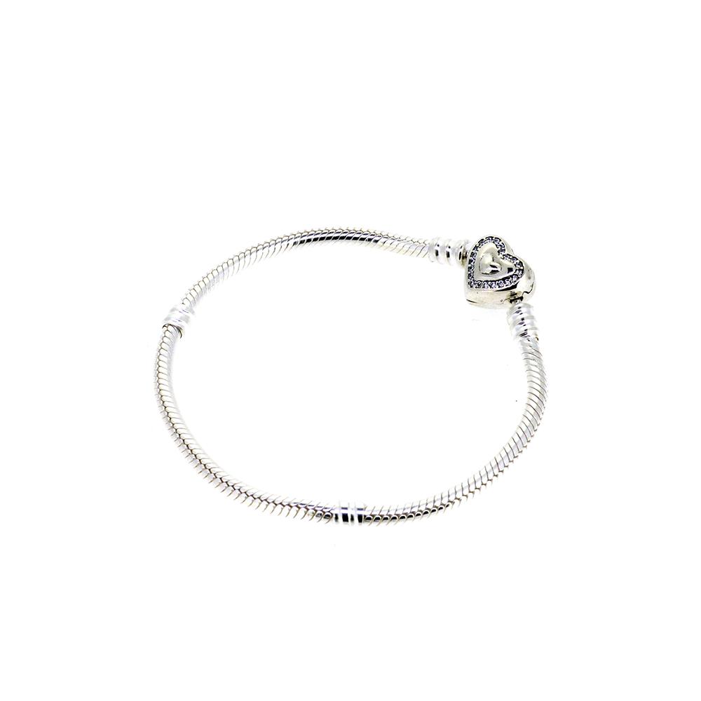 Bratara din argint, pentru talismane, cu inchizatoare tip inima