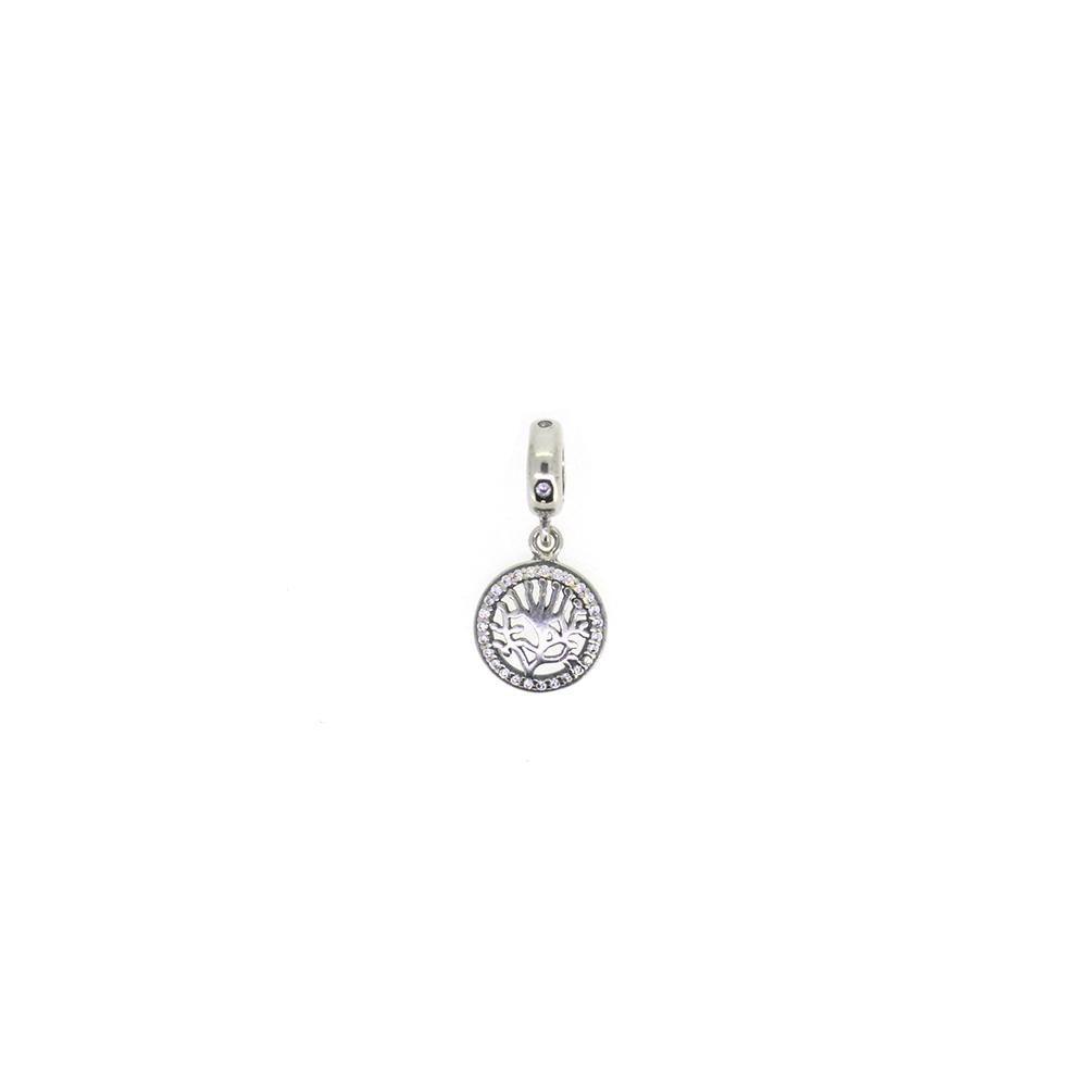 Pandantiv din argint, decorat cu zirconii albe