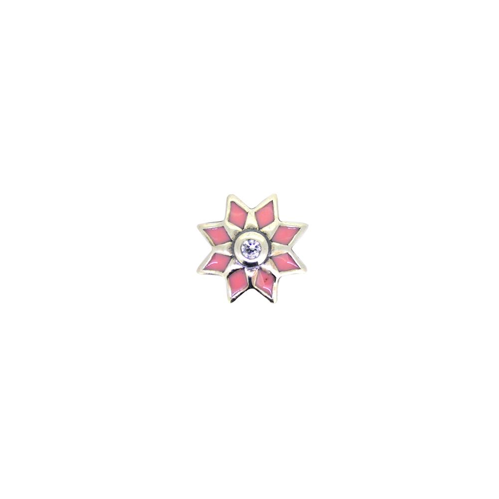 Pandantiv din argint si email roz, in forma de floare