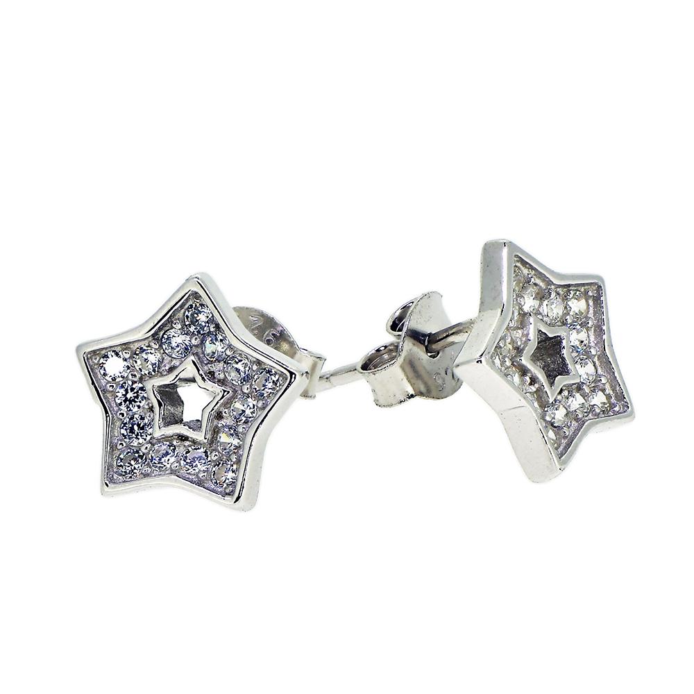 Cercei steluta, din Argint 925, decorati cu zirconiu