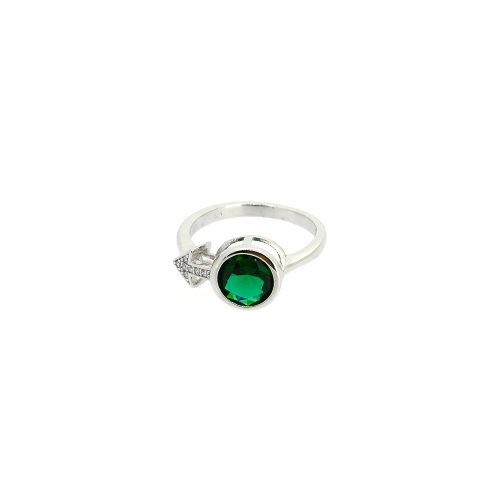 Inel de Argint 925, zirconiu verde, m54