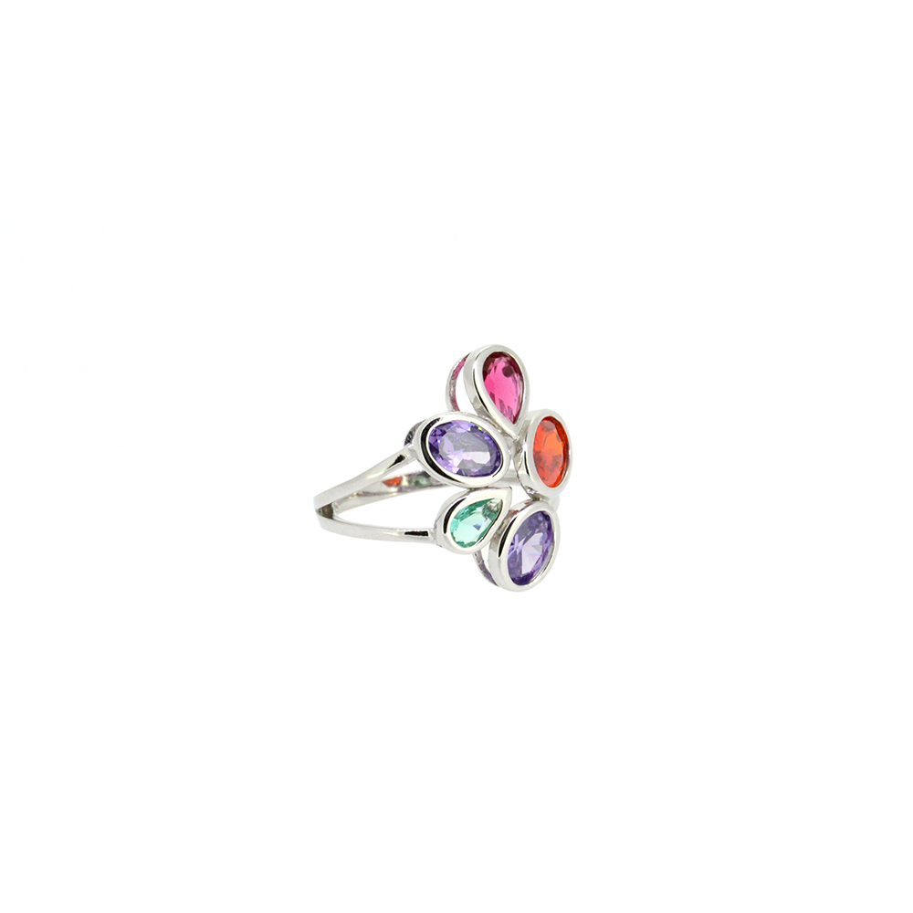 Inel din Argint 925, montura floare cu zirconiu multicolor, m54