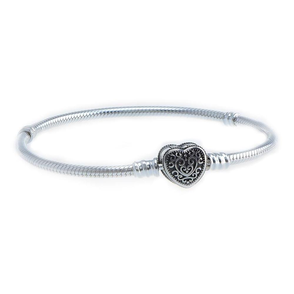 Bratara charm, din Argint 925, cu inchizatoare inima, m17