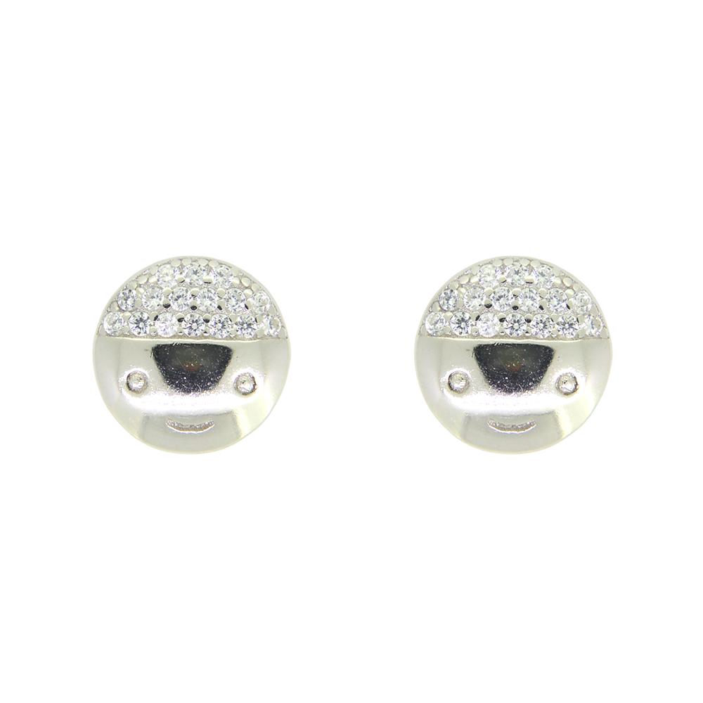 Cercei rotunzi din Argint 925, decorati cu zirconiu alb