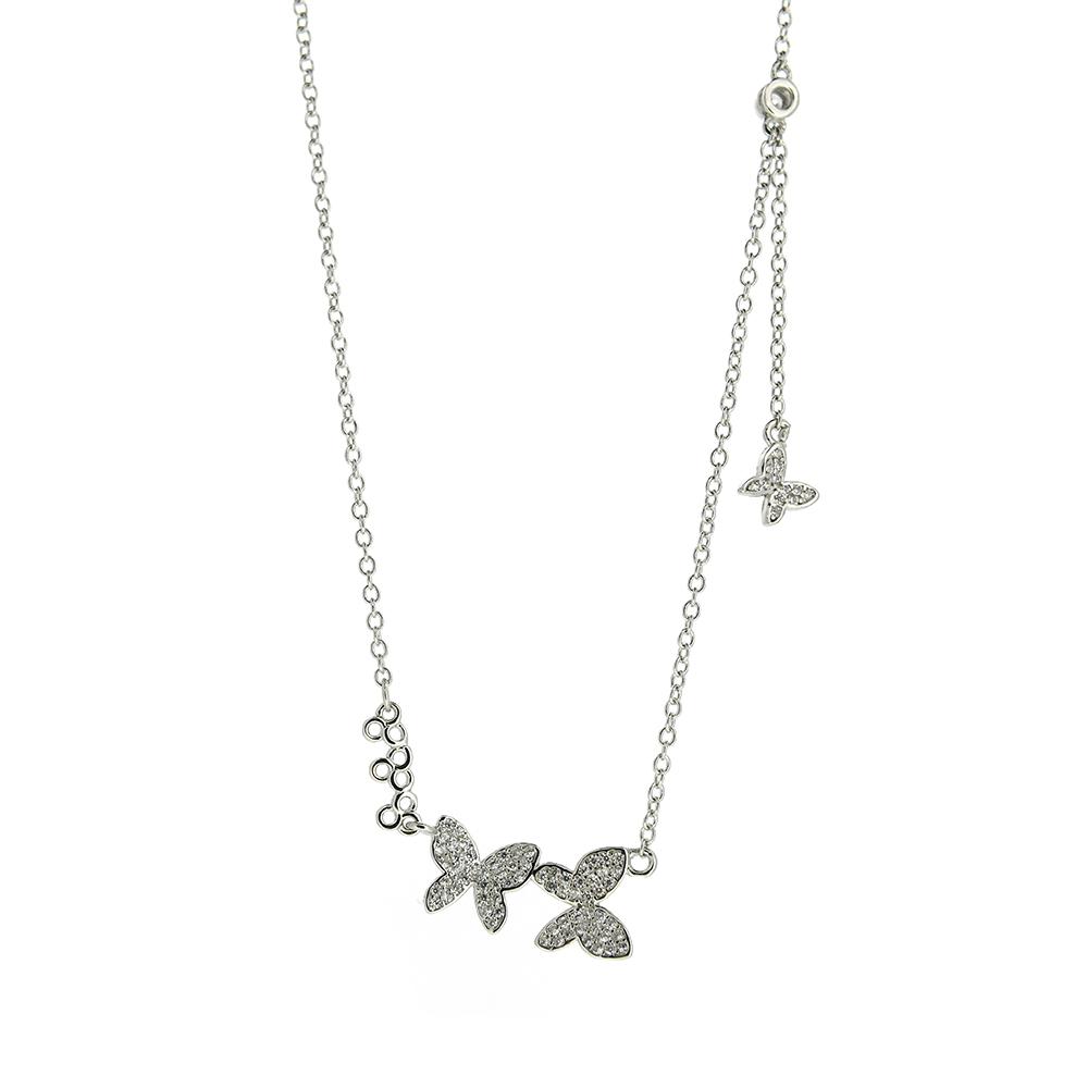 Lant Argint 925 cu fluturi decorati cu zirconii albe