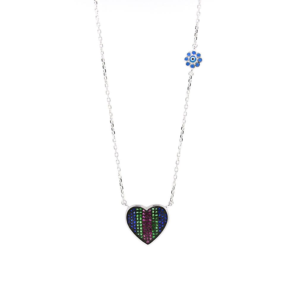 Lant Argint 925 cu pandantiv inima decorat cu zirconii colorate