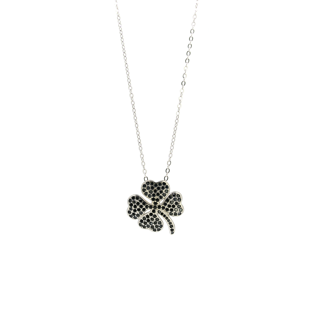 Lant Argint 925 cu pandantiv trifoi cu zirconii negre