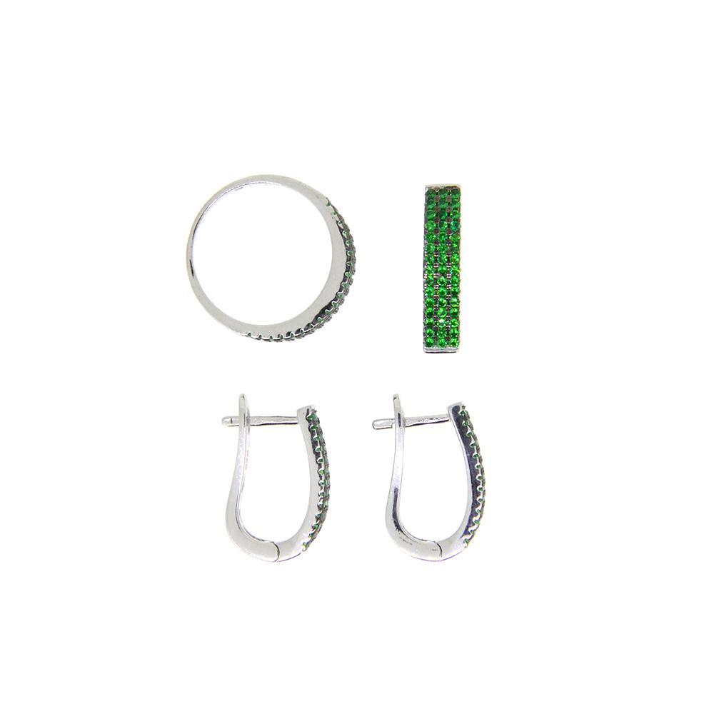 Set Argint 925, cercei, pandantiv si inel, cu zirconiu verde, m57