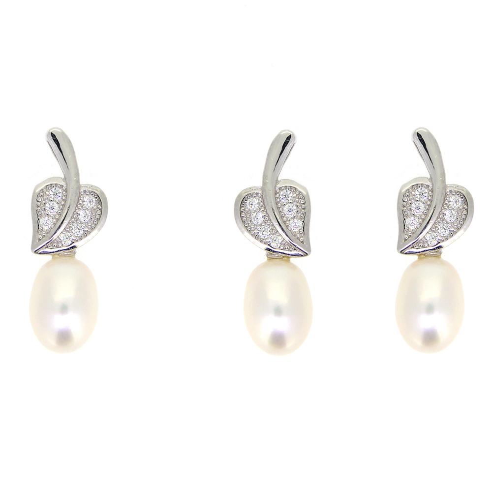 Set din Argint 925, cercei si pandantiv, cu zirconii si perle
