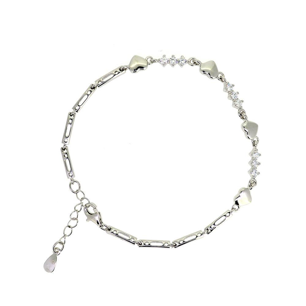 Bratara dama, din Argint 925, charmuri inimioare