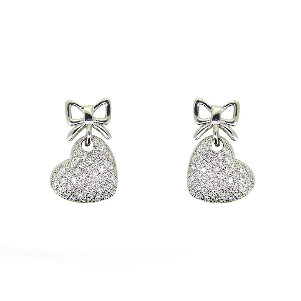 Cercei din Argint 925, inima, cu zirconii albe