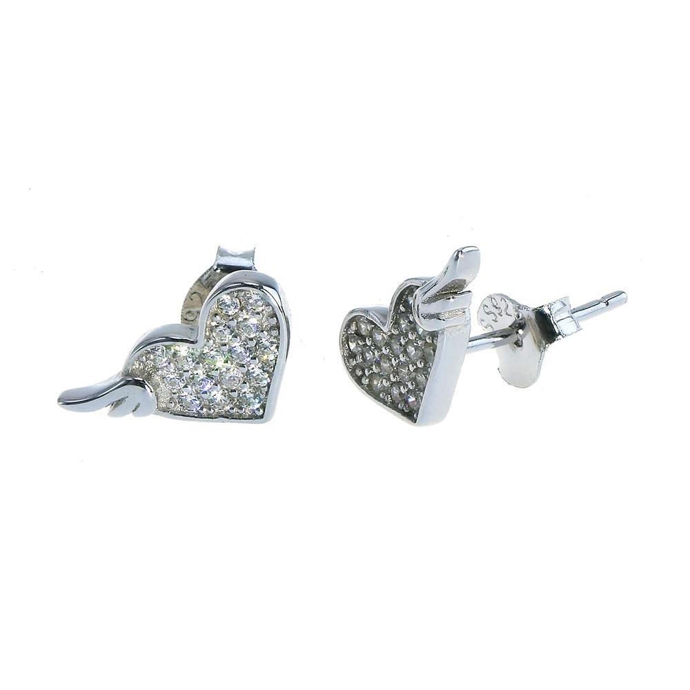Cercei din argint 925 inima cu aripioare, decorati cu zirconii albe