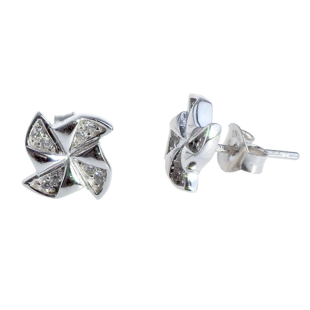 Cercei din argint 925 si zirconii albe, stralucitoare