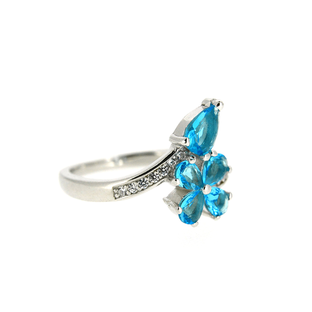 Inel din Argint 925, montura cu zirconiu albastru, m50