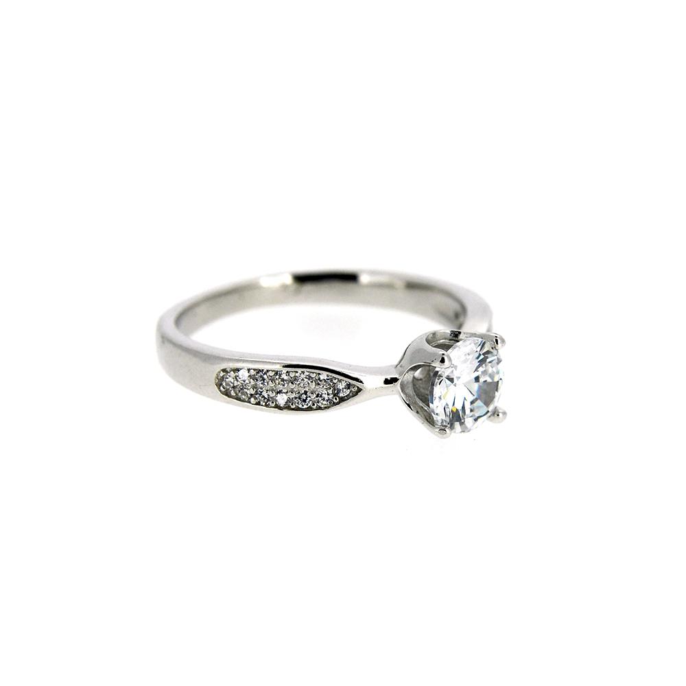 Inel tip logodna, cu zirconii albe, m57