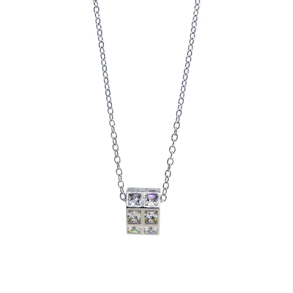 Lant argint 925 cu pandantiv dreptunghiular si zirconiu cubic alb