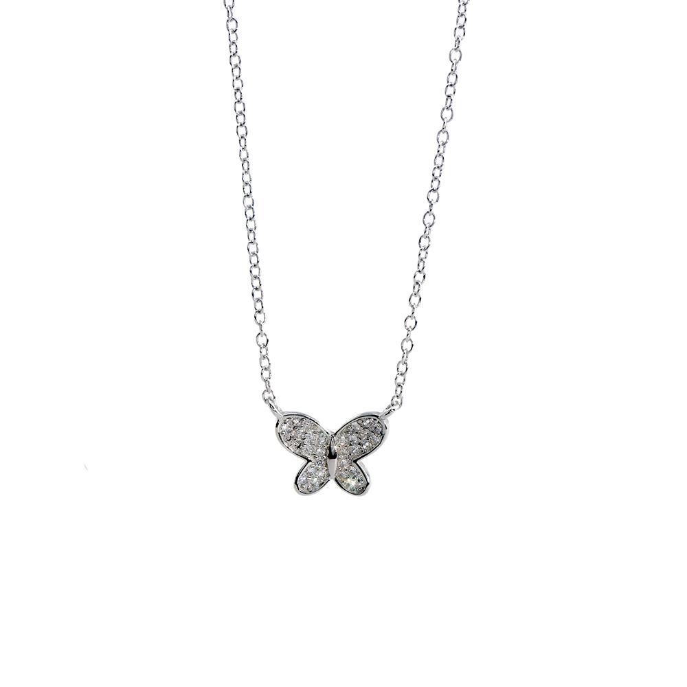Lant cu pandantiv din argint 925 in forma de fluture decorat cu zirconiu cubic alb