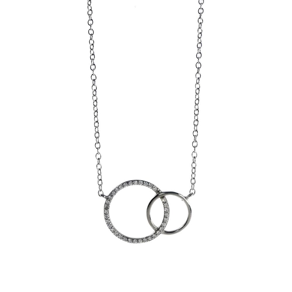 Lant din argint 925 cu cercuri intrepatrunse decorate cu zirconii albe