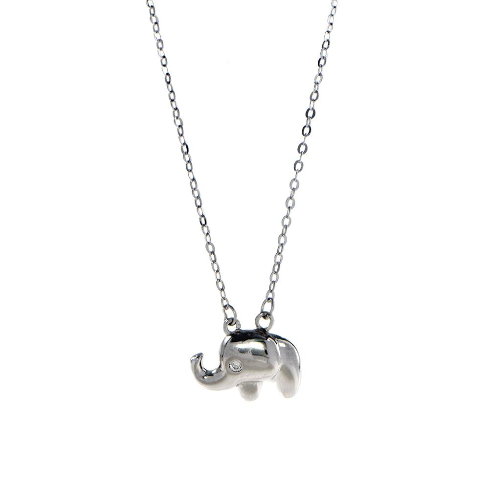 Lant din argint 925 cu elefantel si zirconiu alb
