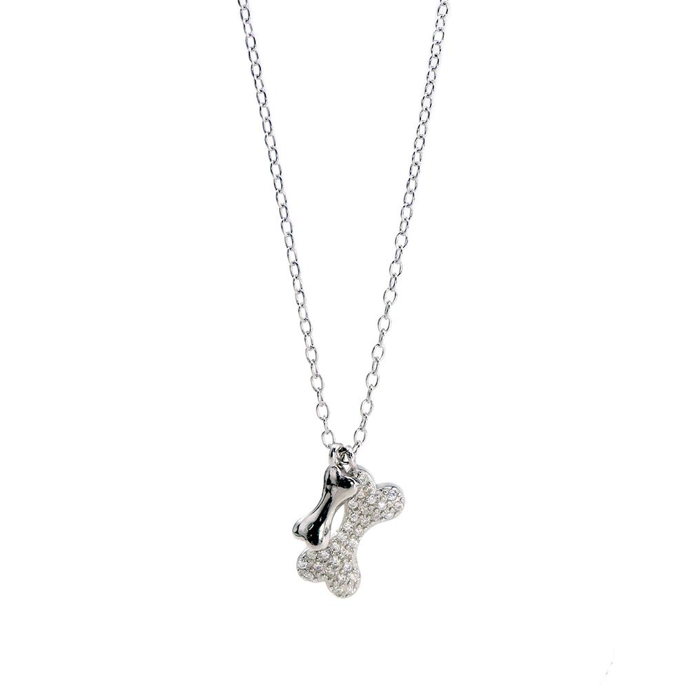 Lant din argint 925 cu pandantiv Bonesdecorat cu zirconii albe