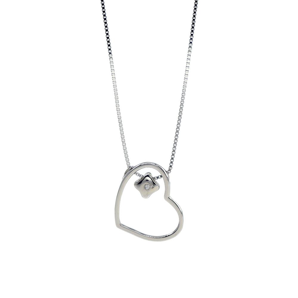 Lant din argint 925 cu pandantiv inima si zirconiu alb