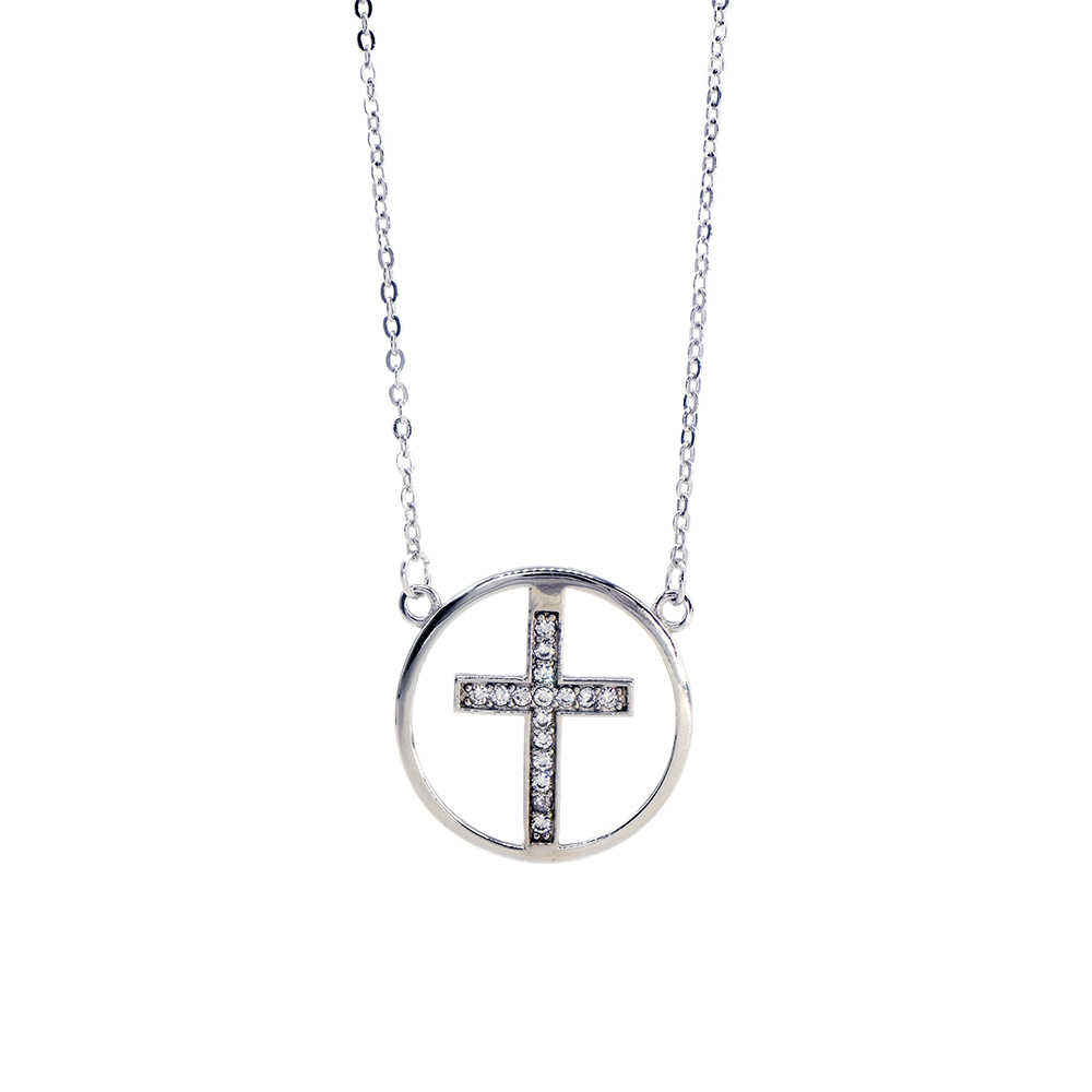 Lant din argint 925 cu pandantiv rotund si cruce cu zirconii albe