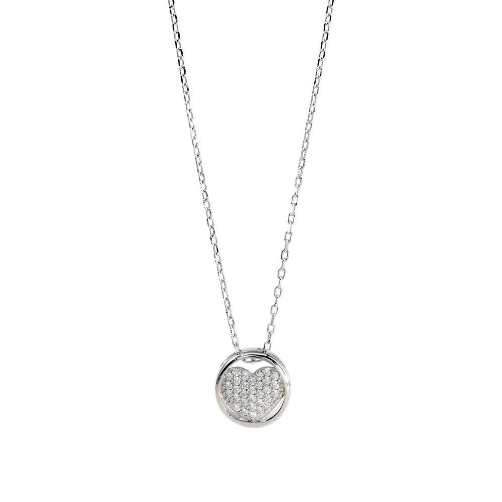 Lant din argint 925 si pandantiv inimioara cu zirconii albe
