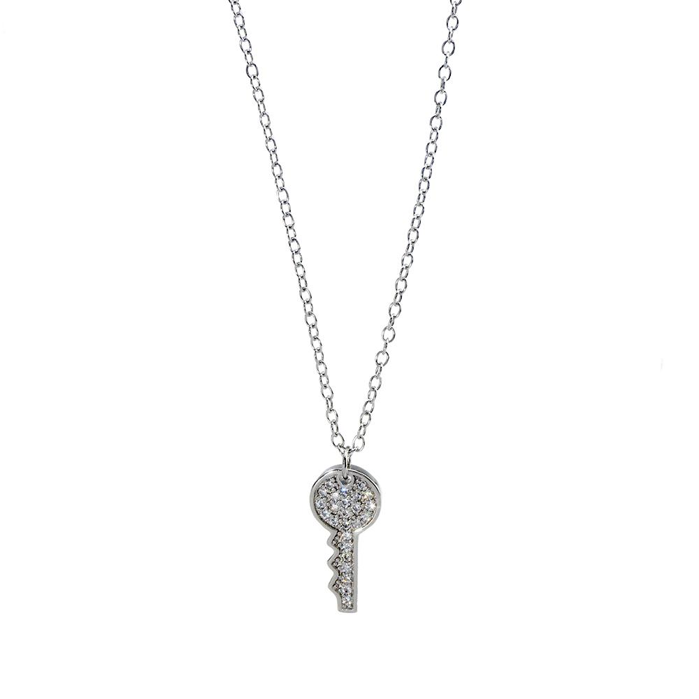 Lant si pandantiv din argint 925 cheita cu zirconii albe
