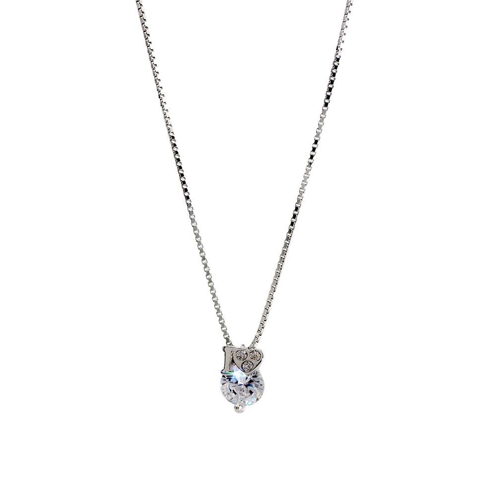Lant si pandantiv din argint 925 cu zirconiu cubic alb