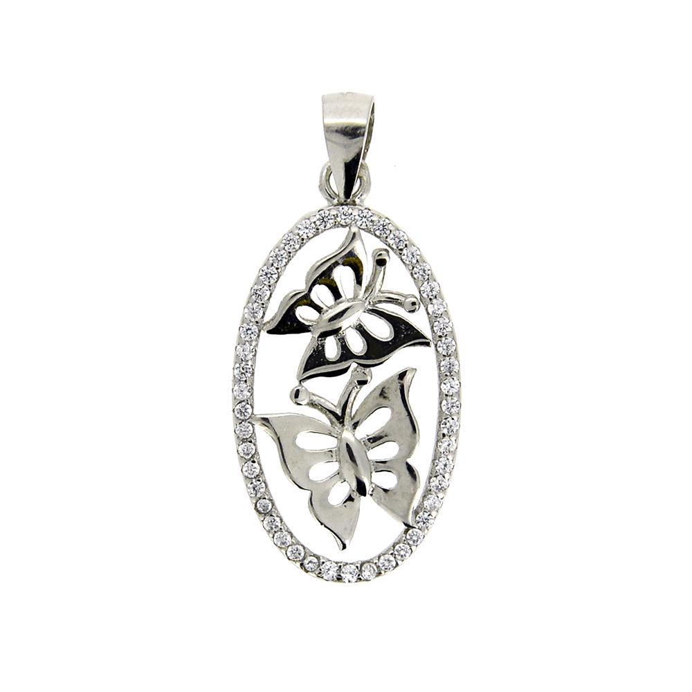 Pandantiv oval, din Argint 925, cu fluturi si zirconii albe