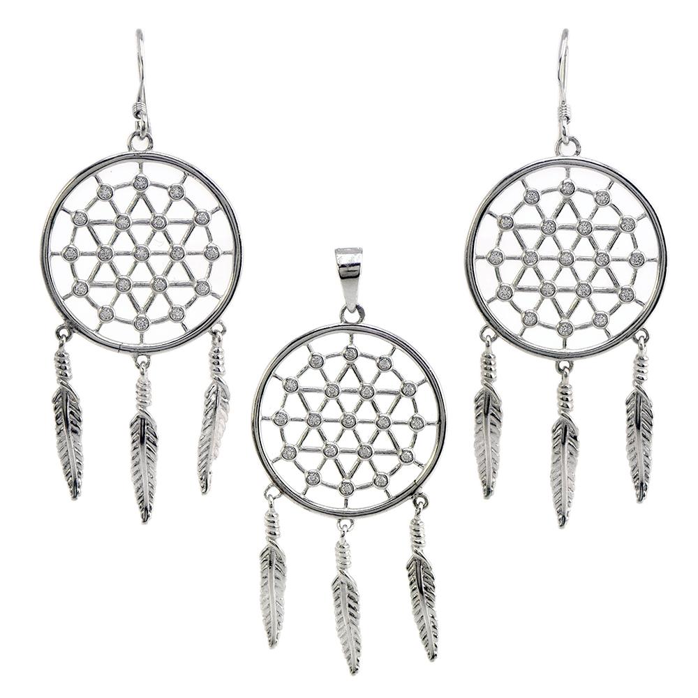 Set Dream cather din argint 925 si zirconii albe cu pandativ si cercei
