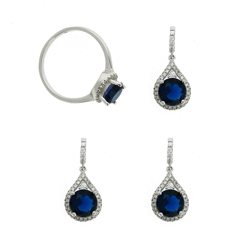 Set Argint 925, cercei, pandantiv, inel, zirconiu alb si albastru, m52