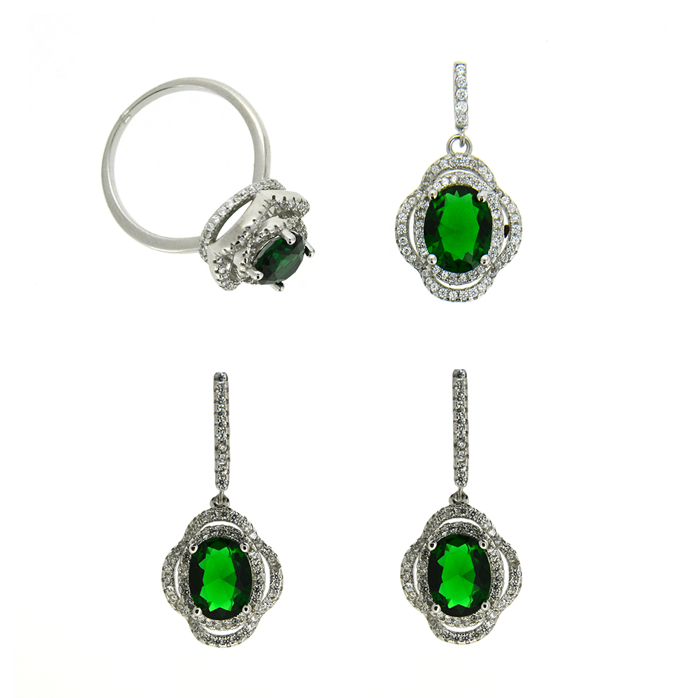 Set Argint 925, cercei, pandantiv, inel, zirconiu alb si verde, m55