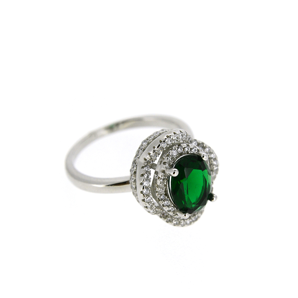 Set Argint 925, cercei, pandantiv, inel, zirconiu alb si verde, m58