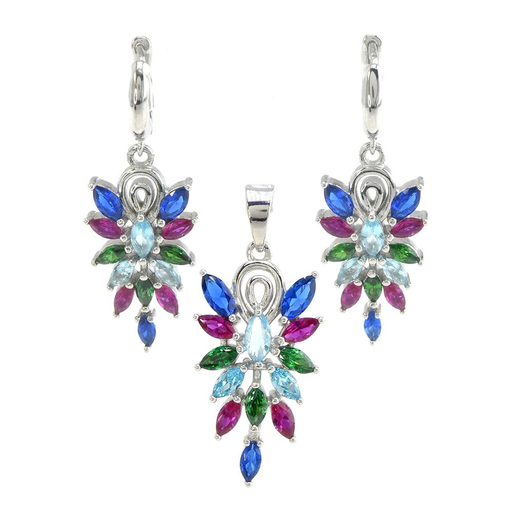 Set argint 925 Elegance cercei si pandantiv, cu zirconii multicolore