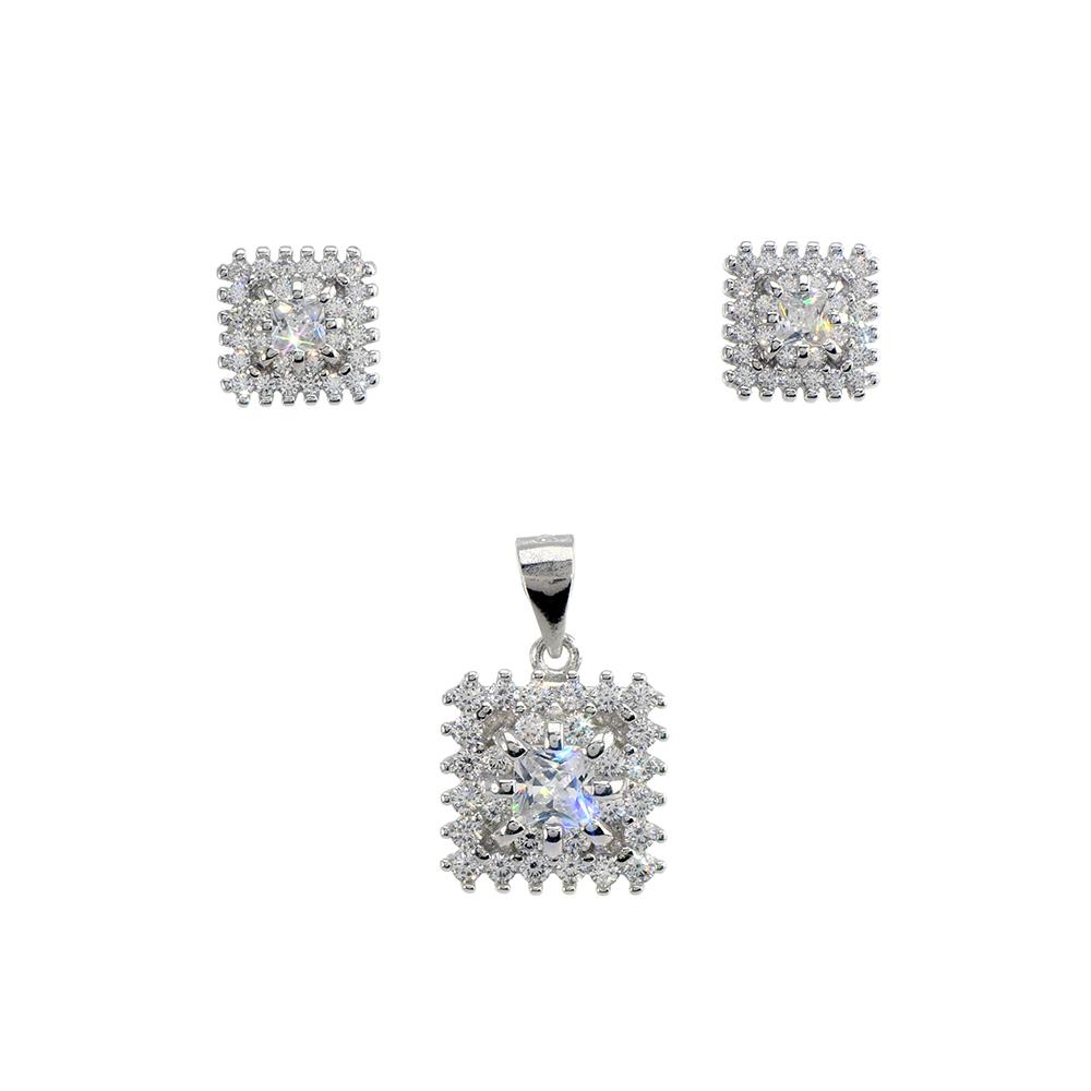 Set cercei si pandantiv din argint 925 cu zirconiu cubic alb