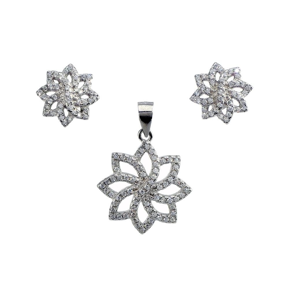 Set cercei si pandantiv din argint 925 floare cu zirconiu cubic alb