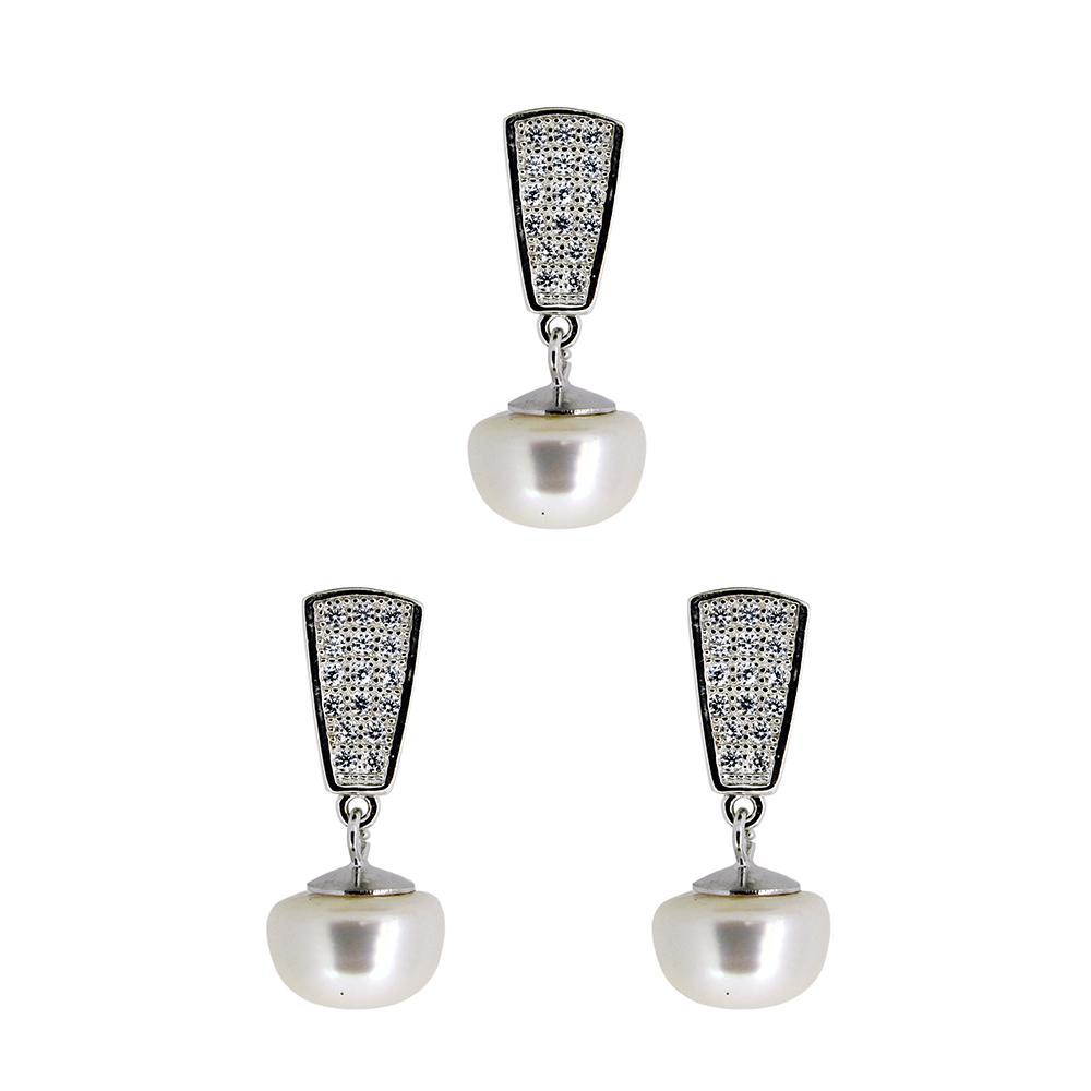 Set din Argint 925, cercei si pandantiv, cu perle