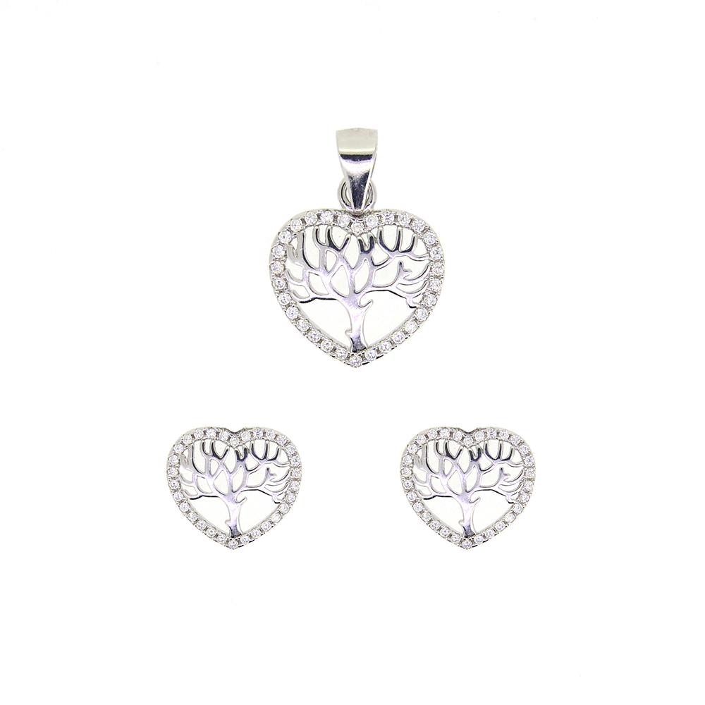 Set din Argint 925, pandantiv si cercei, cu zirconii albe