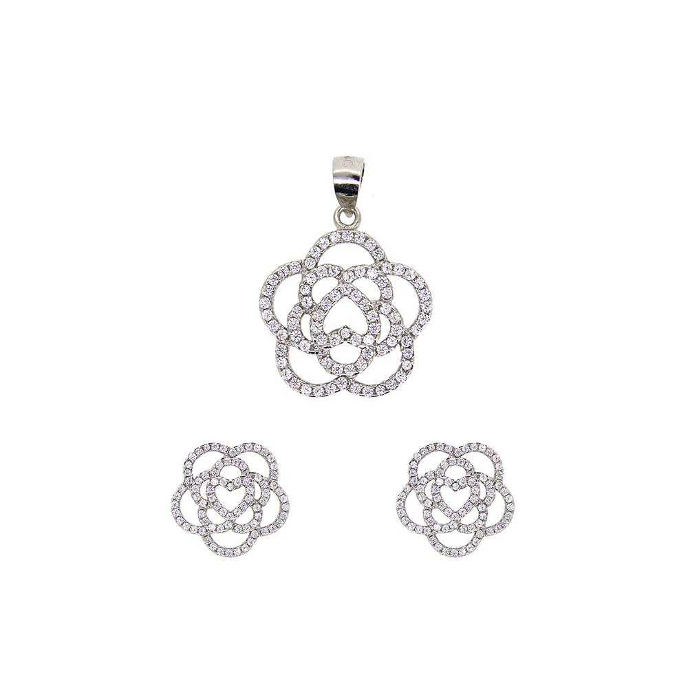 Set din Argint 925, pandantiv si cercei floare, cu zirconiu alb