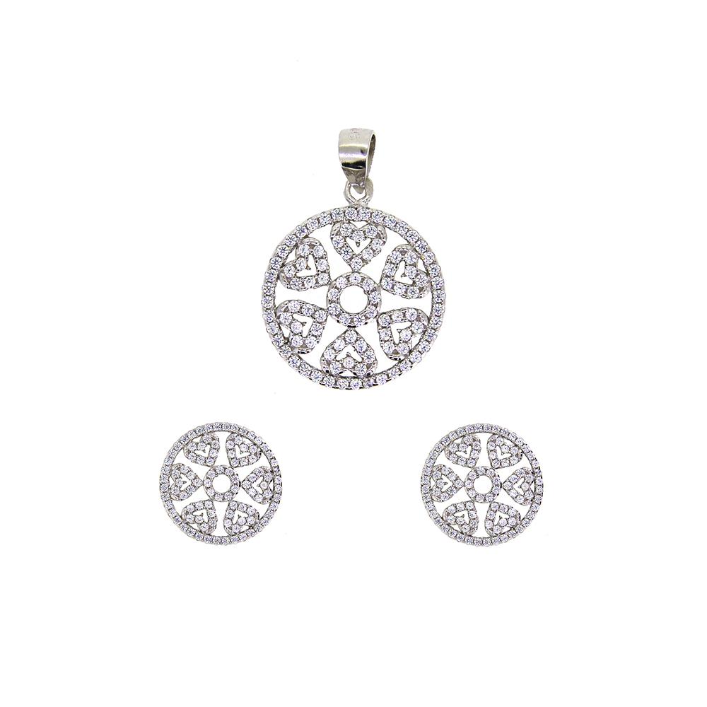 Set din Argint 925, pandantiv si cercei rotunzi cu zirconii albe