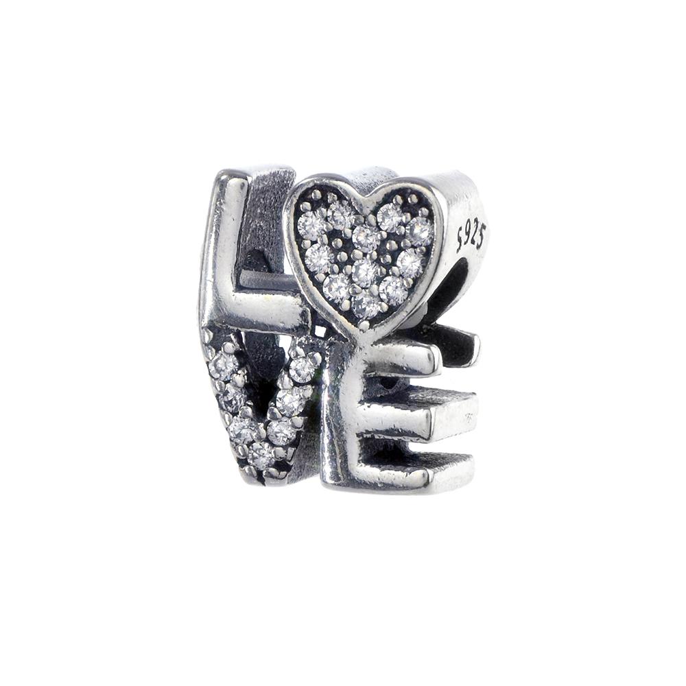 Talisman argint 925 Love zirconii albe
